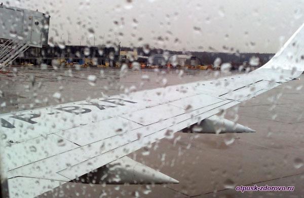Аэропорт Внуково, дождь в иллюминаторе, прощай Москва