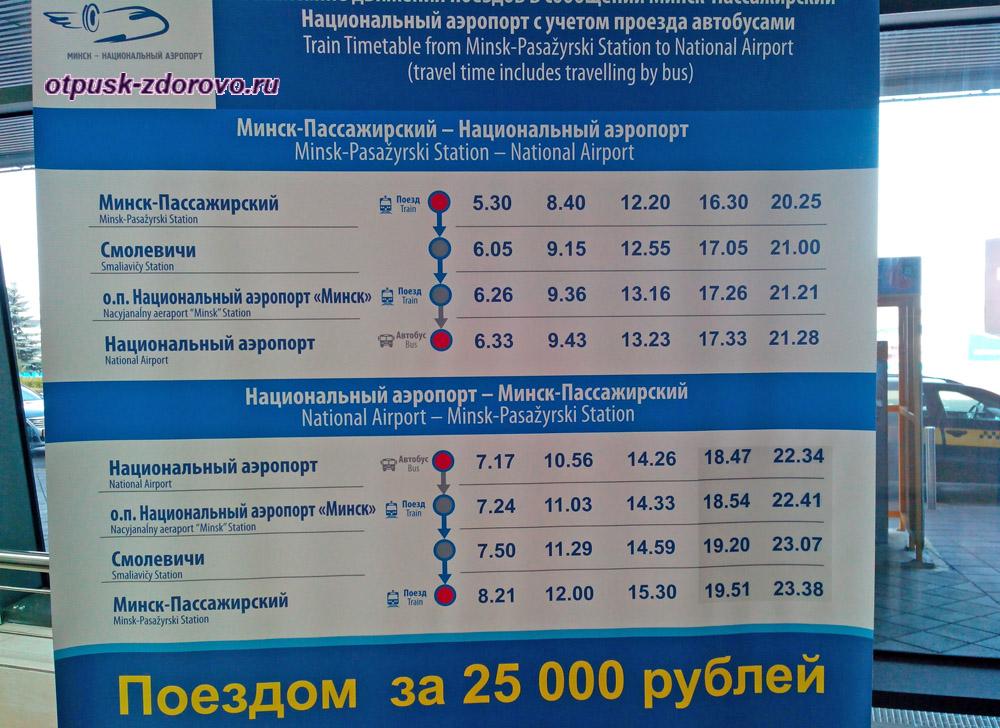 Расписание поездов из Аэропорта Минска