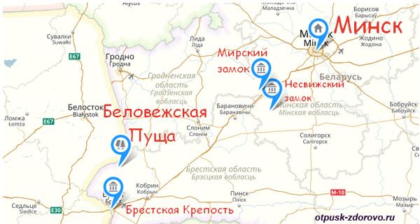 Где находится Беловежская пуща на карте Белоруссии. Минск-Брест