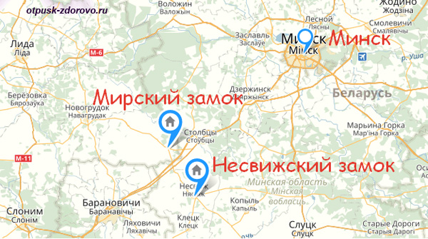 Карта Минск-Несвиж-Мир, Беларусь