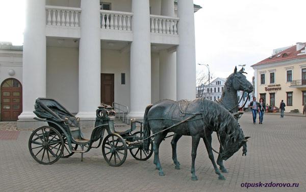 Скульптура Лошади, запряженные в экипаж, Минск, достопримечательности