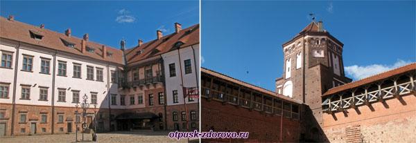 Внутренний двор и крепостные стены, Мирский замок, Мир, Беларусь