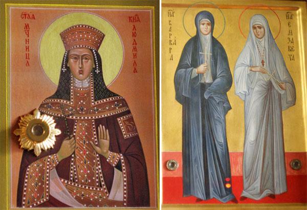 Иконы Людмилы и Елисаветы с Варварой с частицами мощей, Свято-Духов кафедральный собор в Минске, Беларусь
