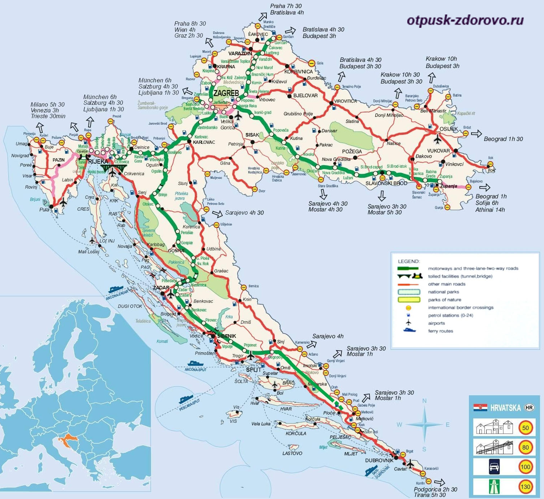 Хорватия, автомобильная карта