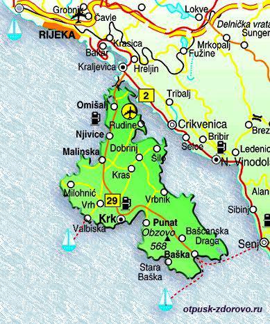 Карта острова Крк, Хорватия