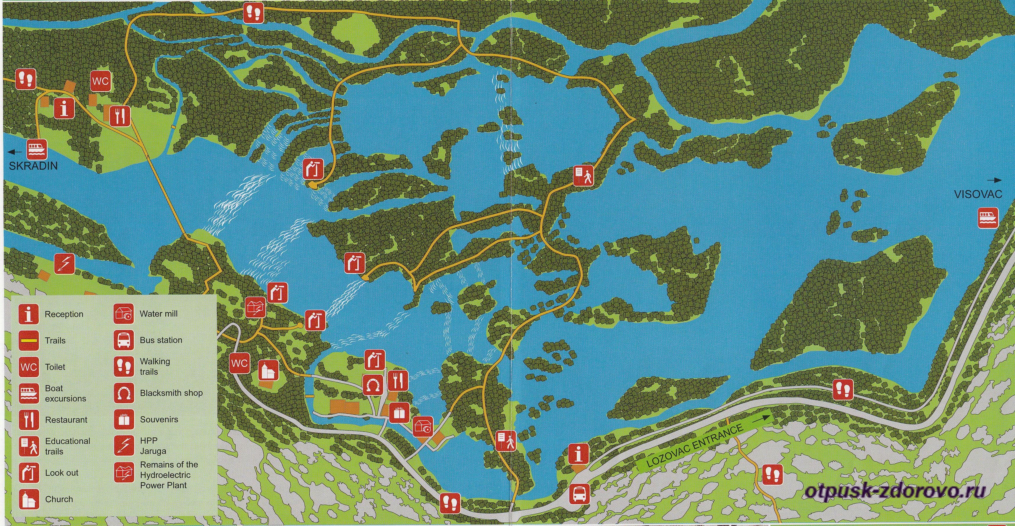 Национальный парк Крка подробная карта. 4 входа (Ulaz) в заповедник