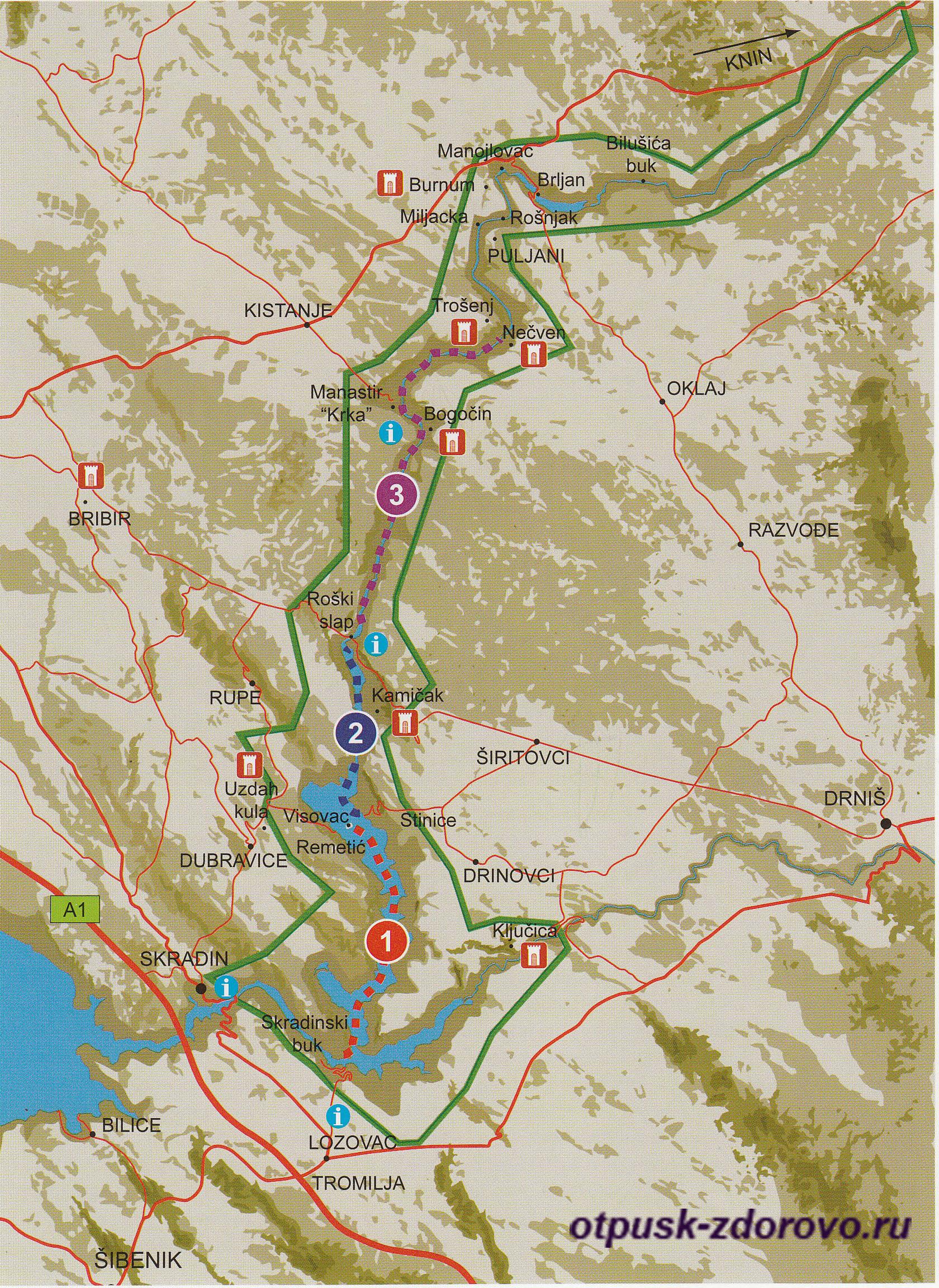 Национальный парк Крка подробная карта