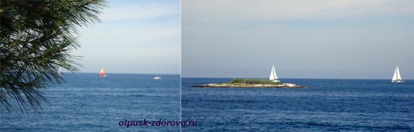 Хорватия, Пореч, Зеленая Лагуна, море яхты паруса парусники