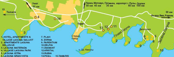 Зеленая Лагуна, Пореч, Хорватия, подробная карта