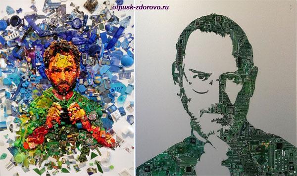 Автопортрет Дарио Тироне и портрет Стива Джобса