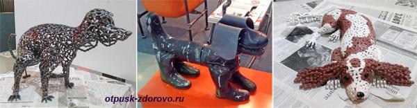 Собаки извелосипедных цепей и резиновых сапог