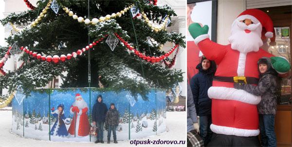 Новогодняя Калуга, елки, Дед Мороз