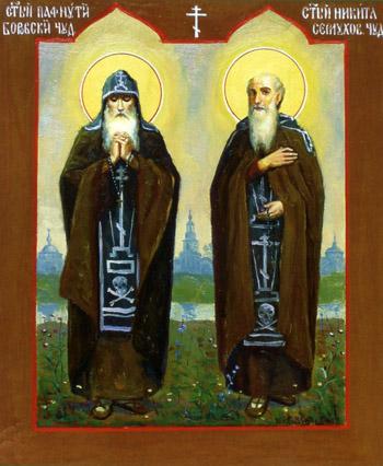 Икона преподобного Пафнутия Боровского и Никиты Серпуховского чудотворцев