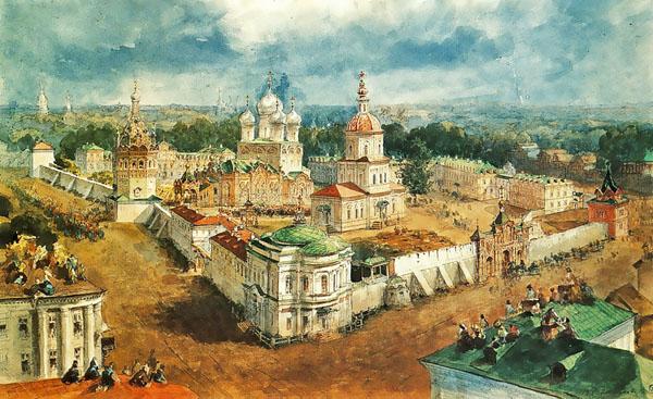 Акварель В.Садовникова: Вид Богоявленско-Анастасьинского монастыря (после 1865 года), Кострома
