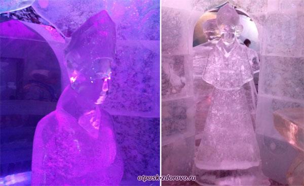 Ледяная скульптура Снегурочки в ее Тереме, Кострома