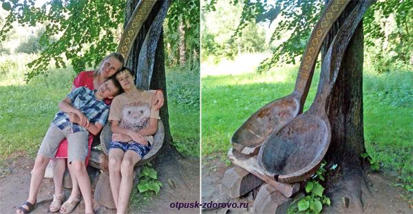Музей деревянного зодчества, гигантские деревянные ложки, Кострома