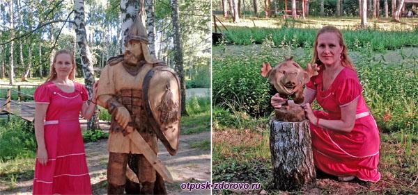 Тридевятое Царство, деревянные скульптуры Богатырь и Колобок, Кострома