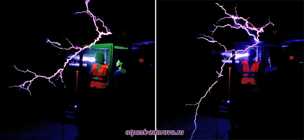 Молнии вокруг человека в клетке, музей Тесла, Адлер