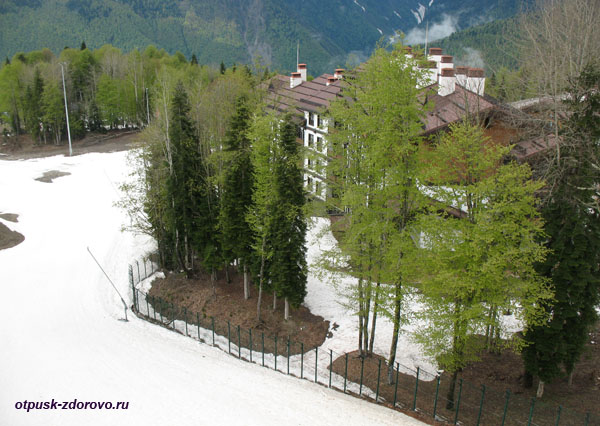 Красная Поляна, что посмотреть летом: снег и зелень