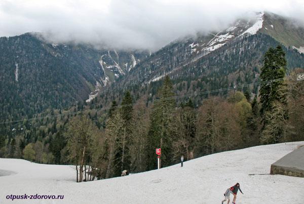 Красная Поляна, прогулки по снегу летом