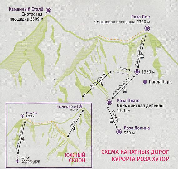 Схема канатных дорог курорта Роза Хутор
