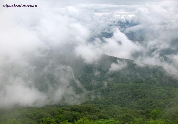 Вид на облака со смотровой площадки на башне горы Ахун, Сочи