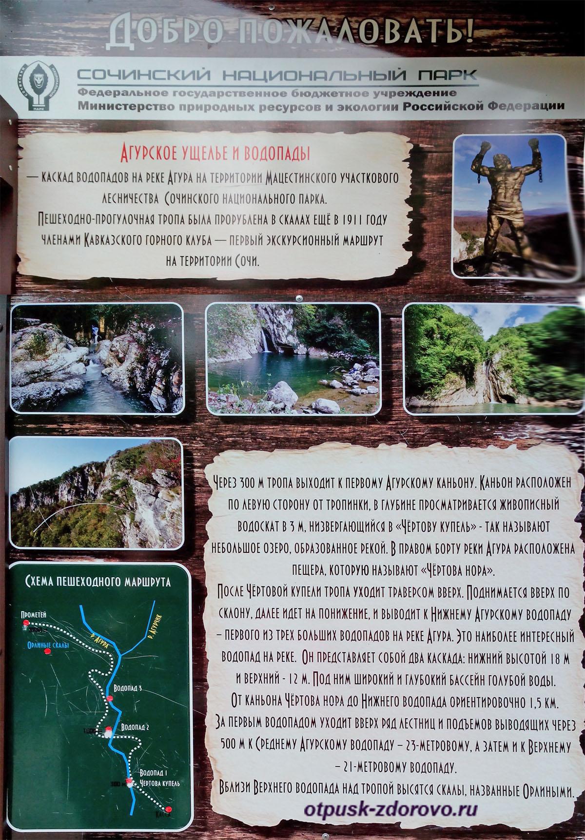 Описание маршрута на Агурские водопады, Сочи