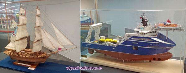 Макеты парусника и корабля