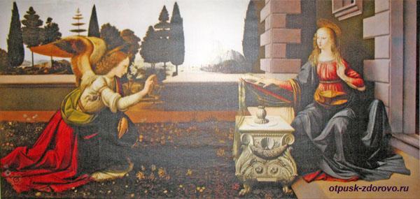 Благовещение, картина Леонардо да Винчи