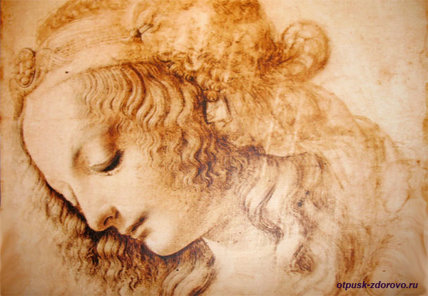 Женская голова, интерьерная картина Леонардо да Винчи