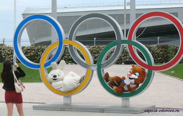 Талисманы Олимпиады-2014 в Сочи и олимпийские кольца на центральной площади Олимпийского Парка в Адлере
