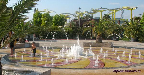 Водный аттракцион Бегающие Фонтаны, Сочи Парк