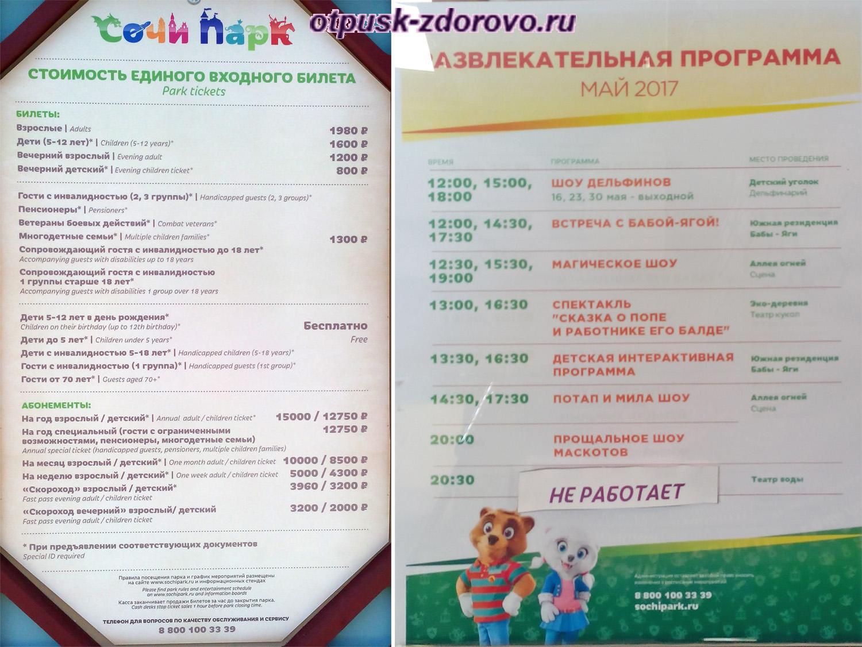 Стоимость входного билета в Сочи Парк и программа развлечений
