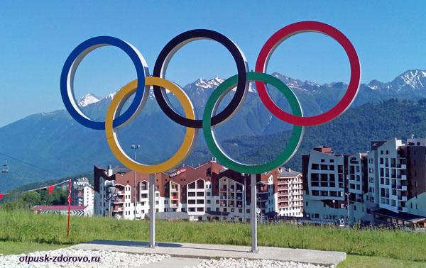 Олимпийская Деревня и Олимпийские кольца на Роза Плато