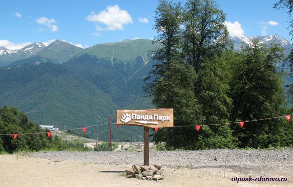 Указатель на Панда Парк на высоте 1350 метров, Роза Хутор
