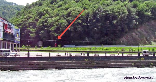 Троллейный спуск Полет Орла над рекой Мзымтой, Роза Хутор