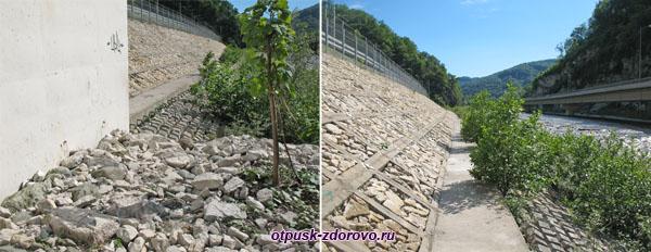 Дорога к водопаду Пасть Дракона (Глубокий Яр) вдоль железнодорожной насыпи