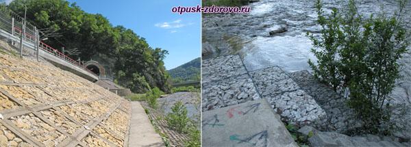 Маршрут к водопаду Пасть Дракона (Глубокий Яр) вдоль железнодорожных путей и реки Мзымта