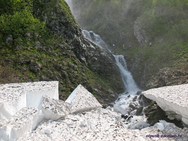Куски льда у водопада Поликаря