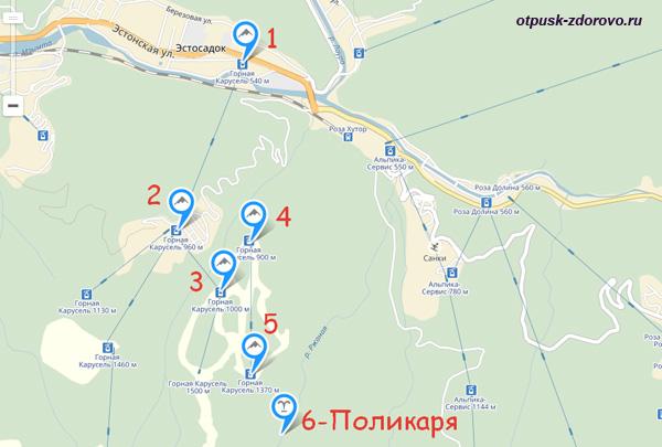 Карта маршрута, как доехать на водопад Поликаря