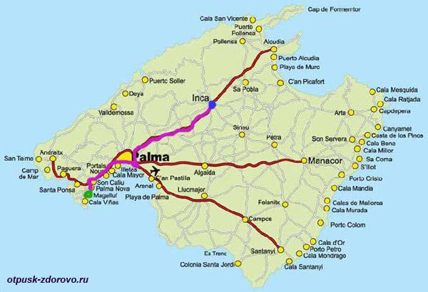 Карта, Инка, Путь на Мыс Форментор, Майорка