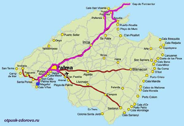 Карта, Мыс Форментор, Майорка. Как добраться