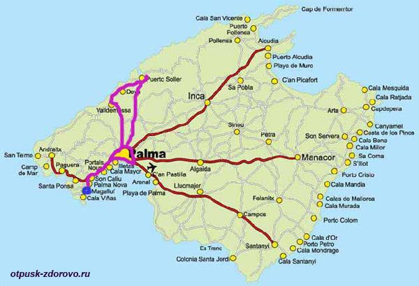 Карта, Пальма-Вальдемосса-Сольер, Майорка