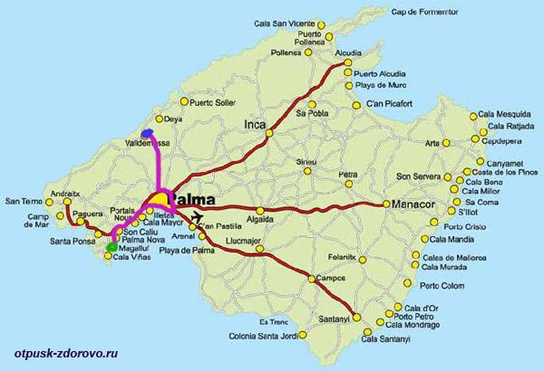 Карта, Пальма- Вальдемосса , Майорка
