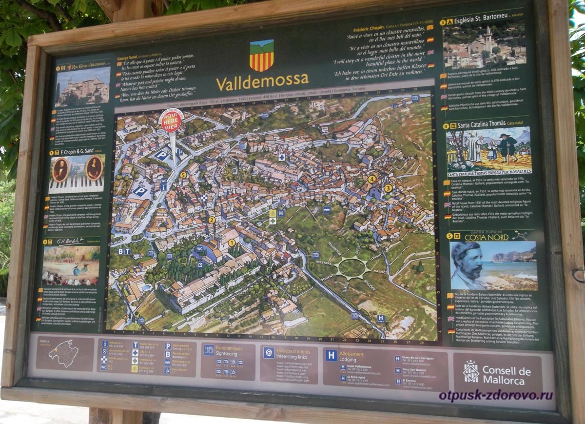 Достопримечательности на карте Вальдемоссы, Майорка