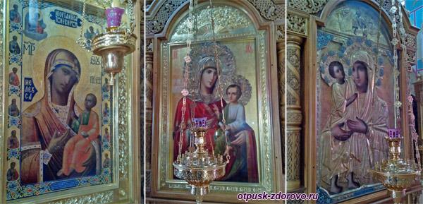 Иконы Божьей Матери: Иверская, Скоропослушница, Взыскание Погибших, Высоцкий монастырь, Серпухов