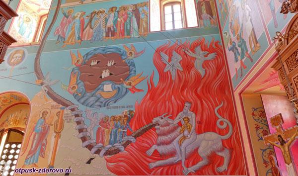 Страшный Суд, росписи внутри Зачатьевского храма, Высоцкий монастырь, Серпухов