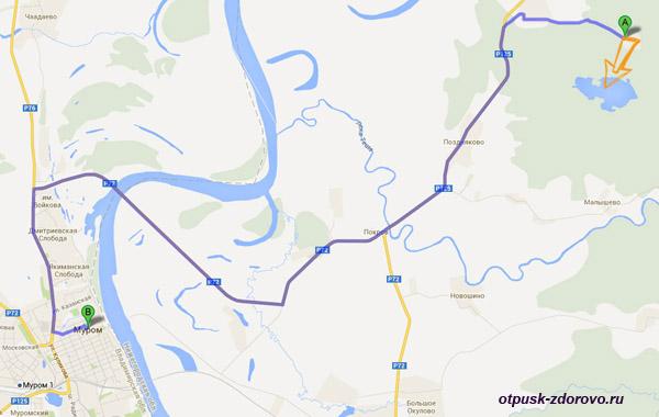 как проехать на Святое озеро в Дедово, Навашинский район, карта