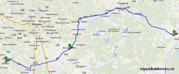 Карта маршрута Обнинск-Муром