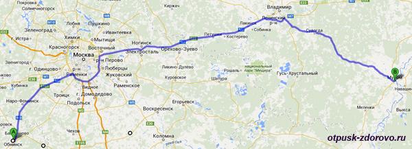 Карта маршрута Муром-Обнинск